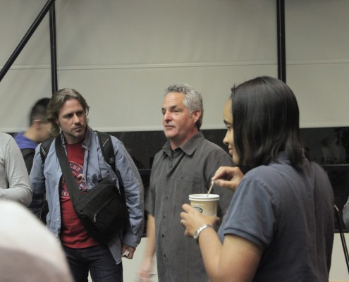 Aron Ranen speaks to some LAPPG members after his presentation.