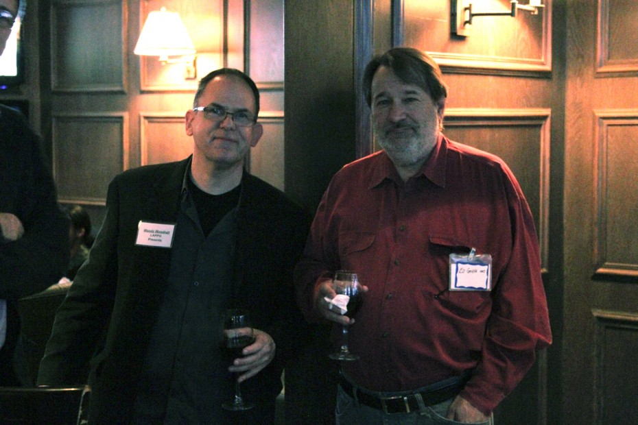LAPPG and CAS members Woody Woodhall and Ed Golya catch up at the mixer and panel.
