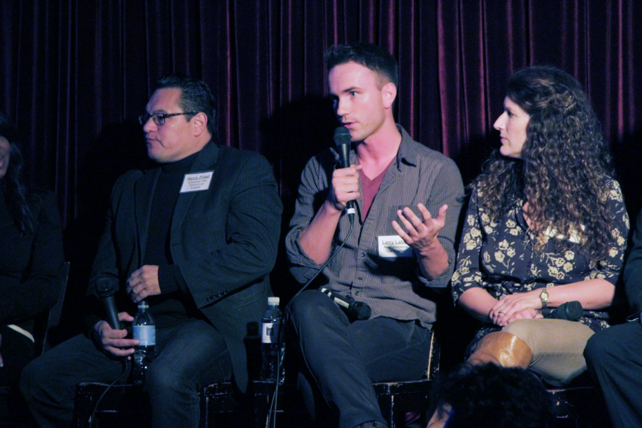 Larry Laboe of NewFilmmakersLA speaks about his festival flanked by fellow panelists Henry Priest and Jeannie Roshar.