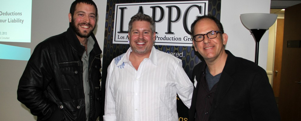 HollyFest's Daniel Sol, DC Short's Jon Gann and LAPPG's Woody Woodhall share a smile and a great night!