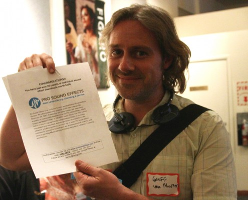 Geoff van Maarten wins a Pro Sound Effects certificate.