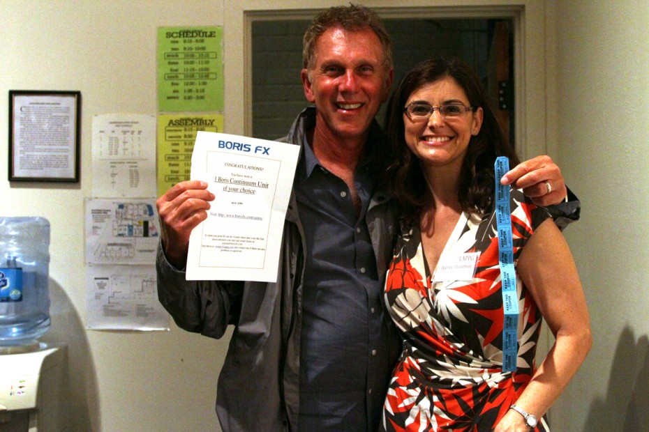 LAPPG Member Alan Connell shows his big Boris FX win with LAPPG Exec. Director Wendy Woodhall.