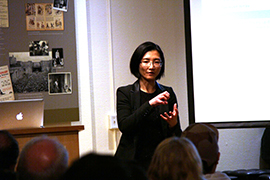 May Hwang of HighPoint Technologies answers questions from the group on their RocketStor RAID storage options.