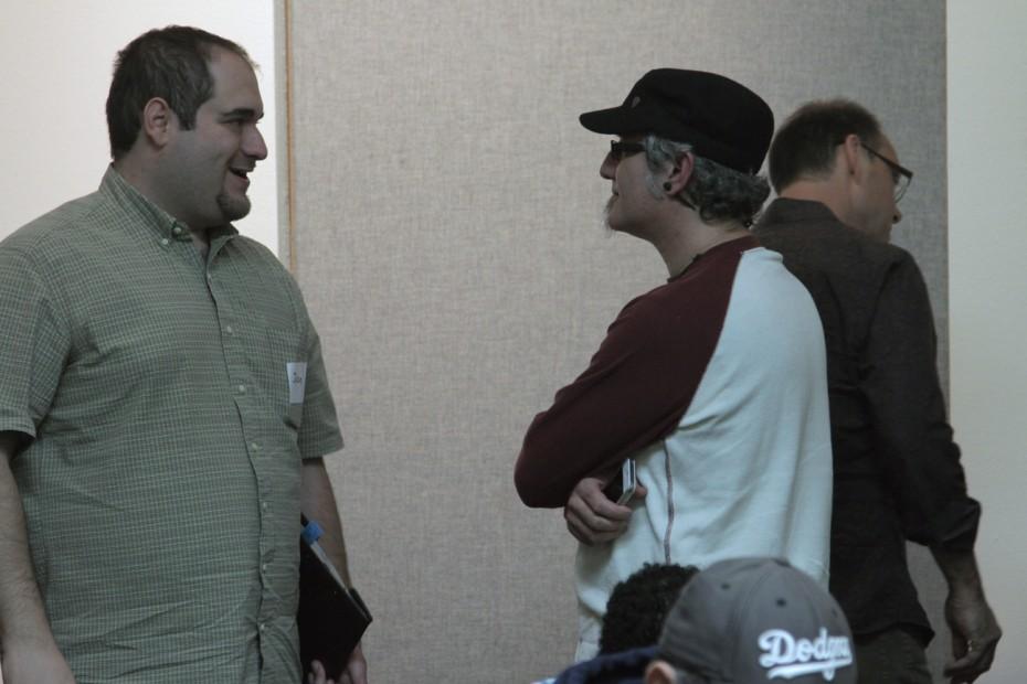 LAPPG members Jesse Carnevale and Seti Gershberg network at the break.