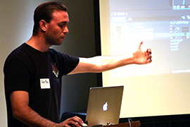 Alex Dow of Zaxwerks wows the group with a demo of 3D Flag version 4.