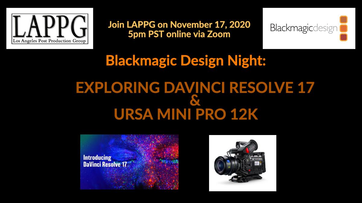 November 17th Meeting With Blackmagic Design Lappg